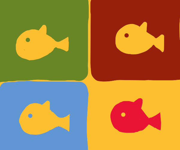 4 fish, one of them red