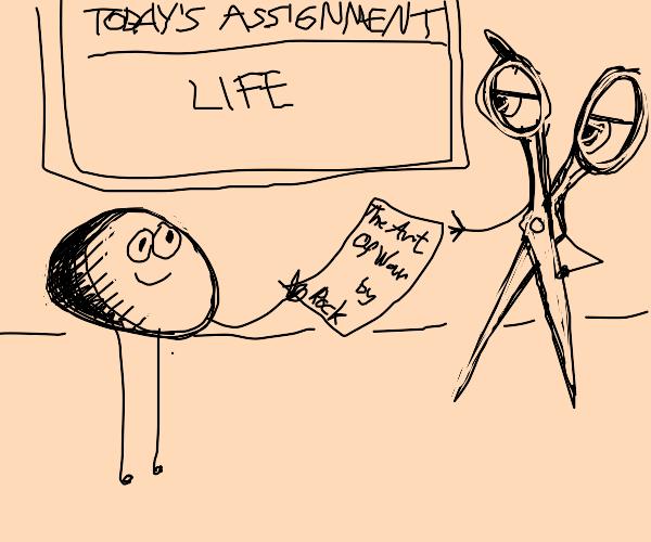 Stone turns in essay to scissors teacher