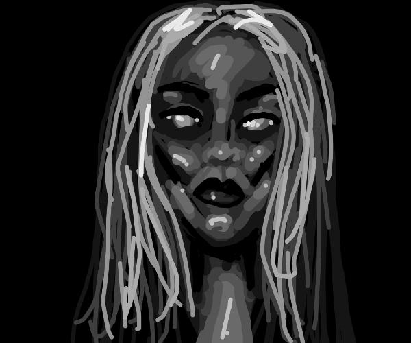 grey woman with long grey hair