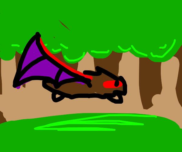 demon hedgehoge flying through a forest