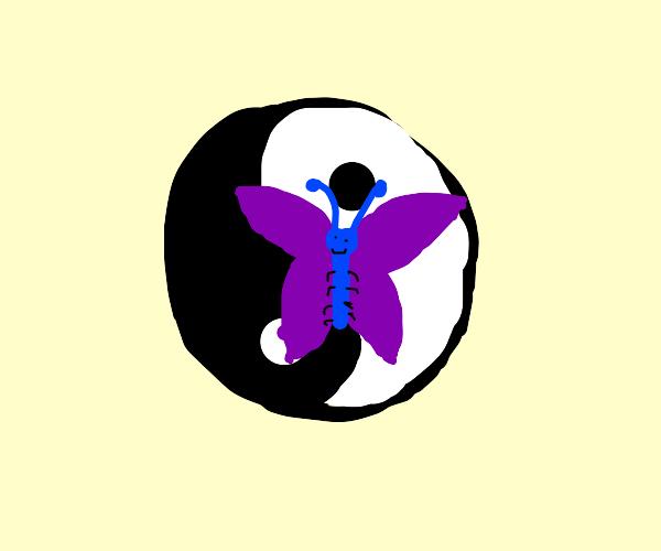 Butterfly on yin yang