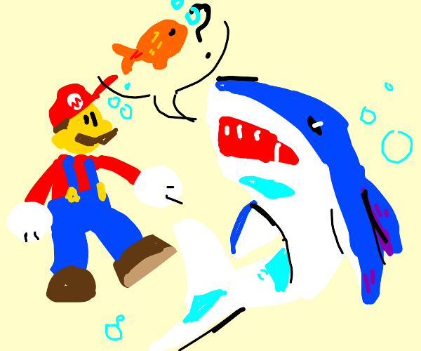 shark asing mario if he saw a fish pass by