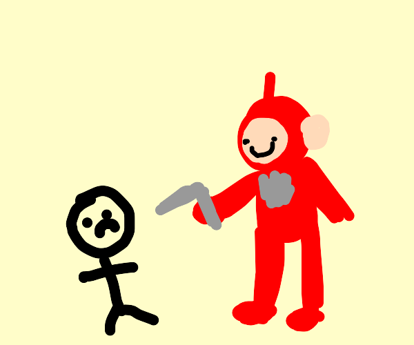 TELETUBBIES HARRASSING A GUY WITH A GUN