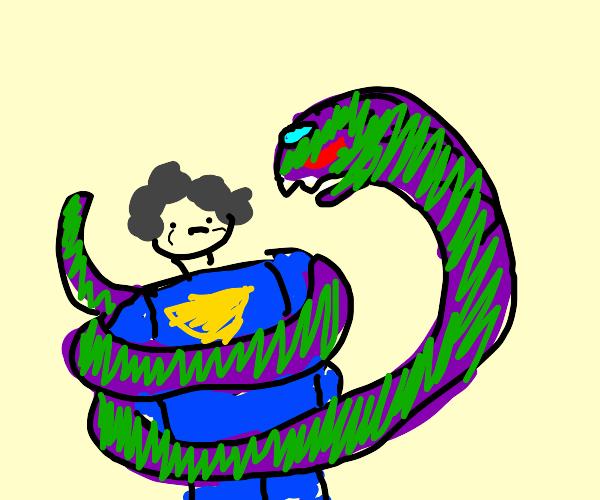 old lady superhero strangled by green snake