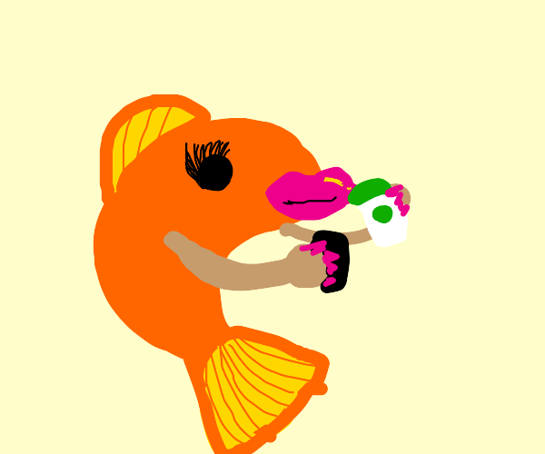 fish with arms uses phone and drinks starbuck
