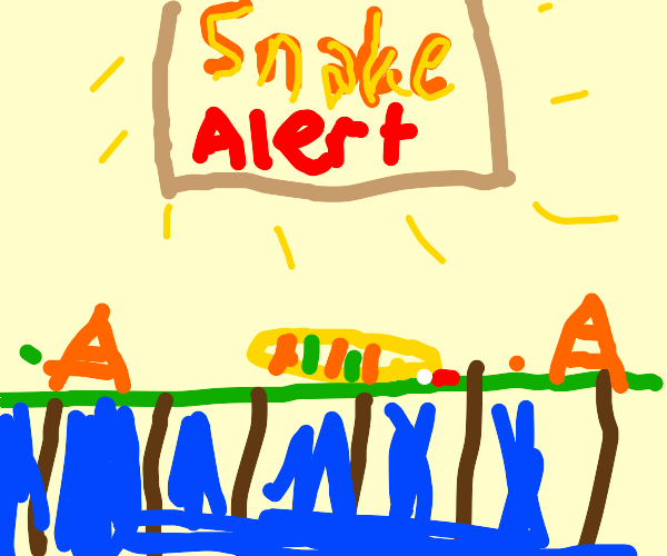 A snake crossing a bridge