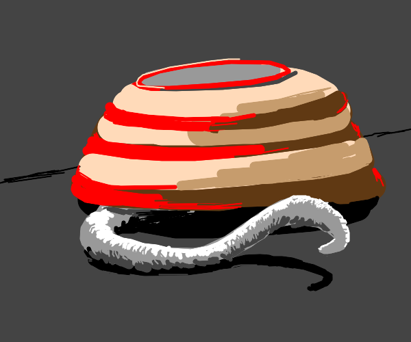 White tentacle coming out of red striped bowl