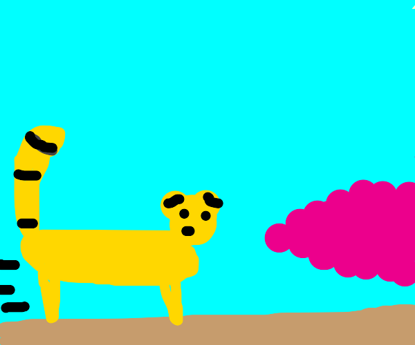 Cheetah runs into pink cloud