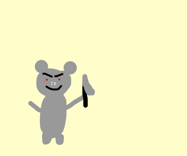 Menacing mouse with a knife