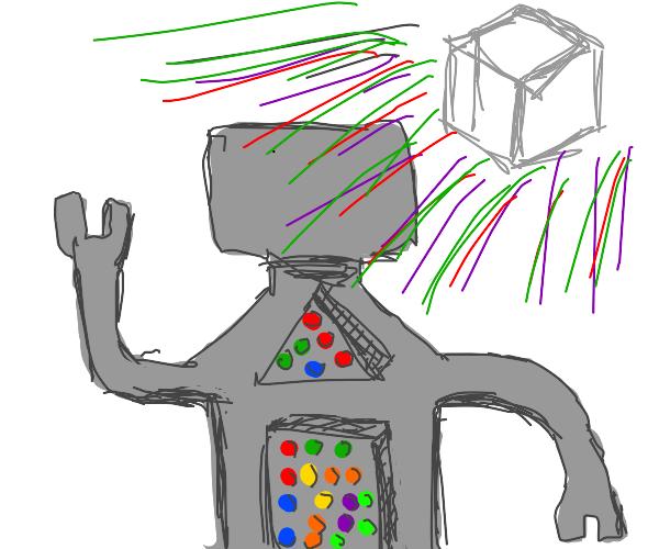 Robot man under disco cube