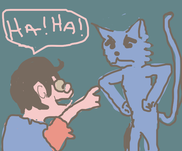 Man laughs at Cat Man