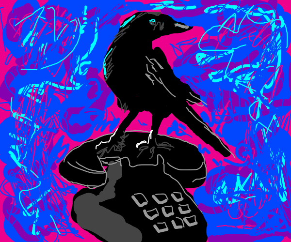Phone with blackbird surrounded by blue blobs