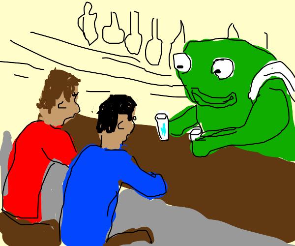 frog bartender serves sad juice to two guys