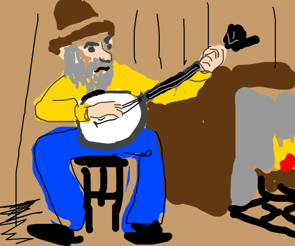 old man in a cabin playing banjo