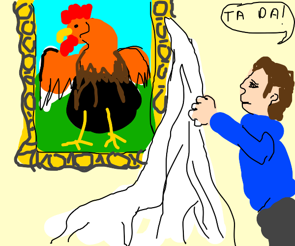 Unveiling a Painting of a Rooster.