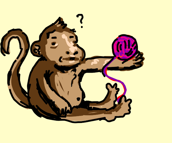 Monkey doesn't know what to do with yarn