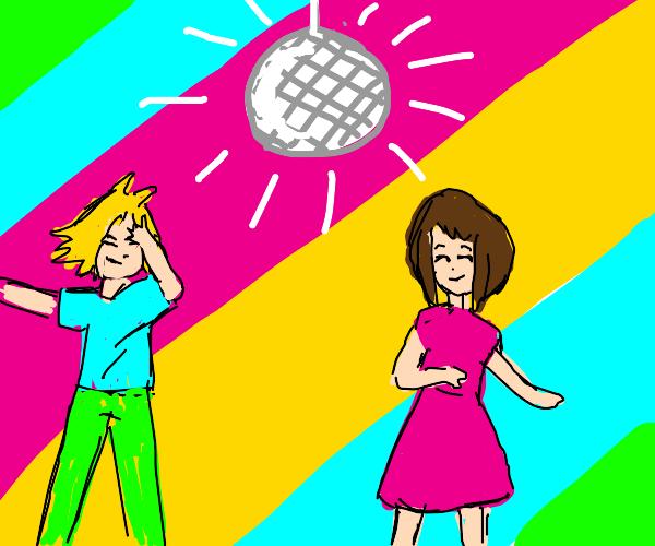 Kaminari and Uraraka at a disco party dancing