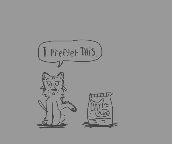 Dog prefers cat food
