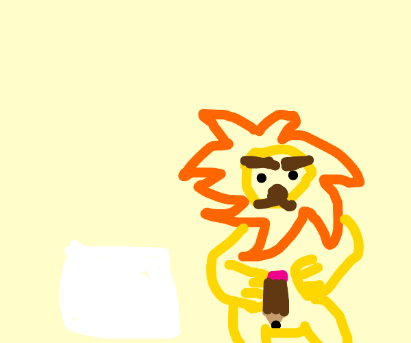 lion prepares to draw