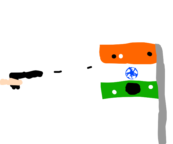 Shooting the Indian flag
