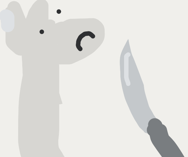 Llama is being threatened with a knife