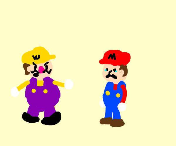 Wario harasses Mario for being worse