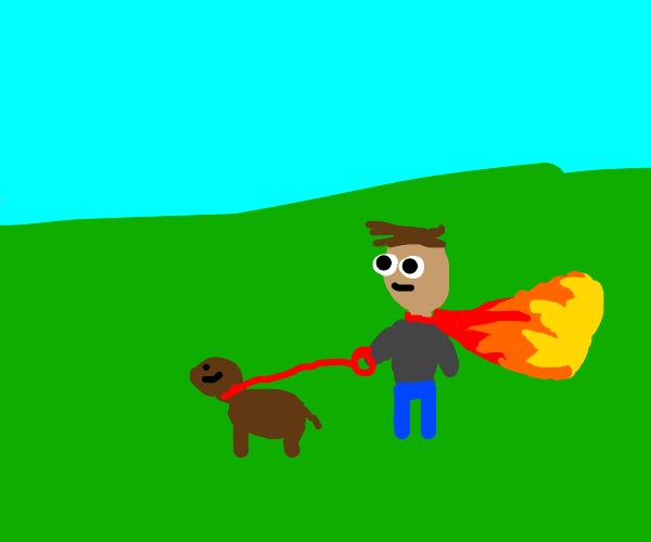 Man in a Fire-Cape Walks His Dog