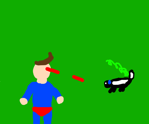 Superhero fights skunk