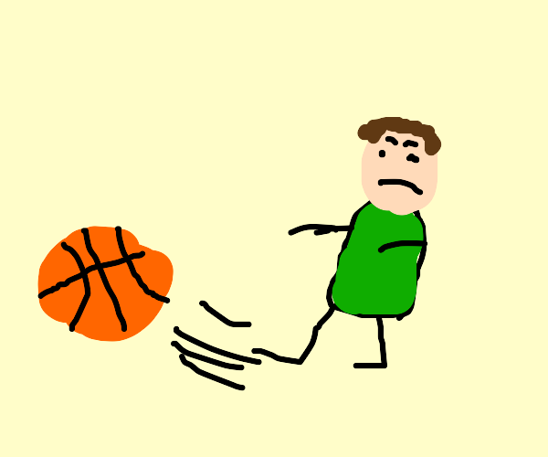 child kicks basketball