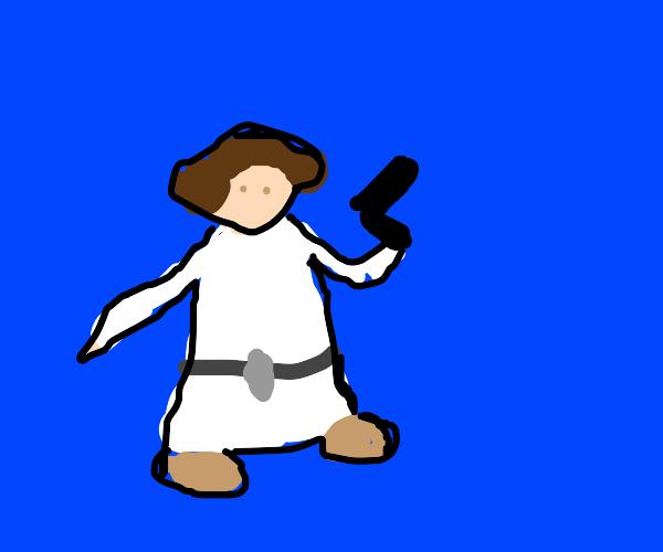Princess Leia with a gun