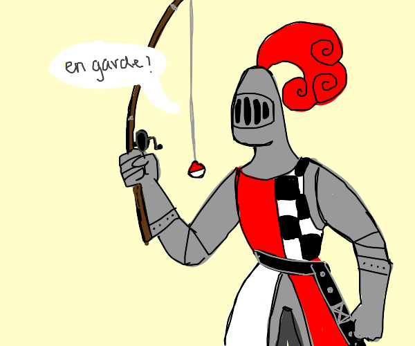 Knight mistakes his sword for a fishing rod