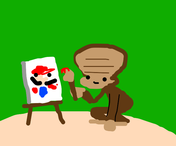 Monkey with a large forehead paints Mario