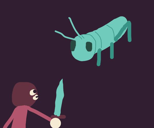 thief with diamond sword tries to killhugebug