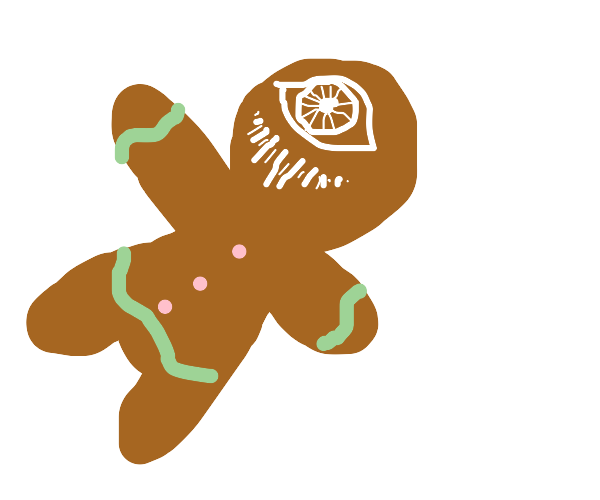 A smiling gingerbread cyclops. Terrifying.
