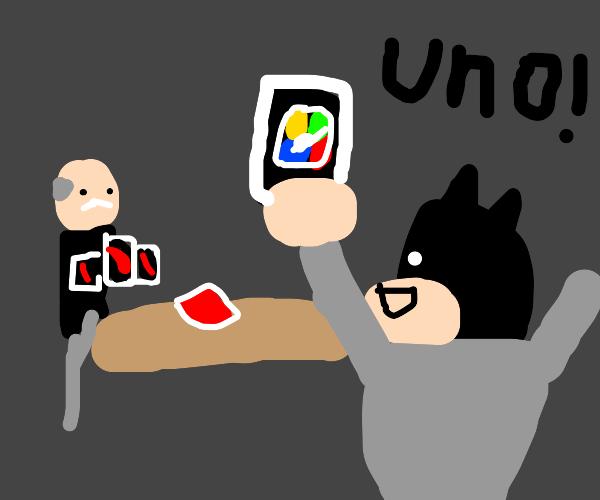 Batman beats Alfred in Uno