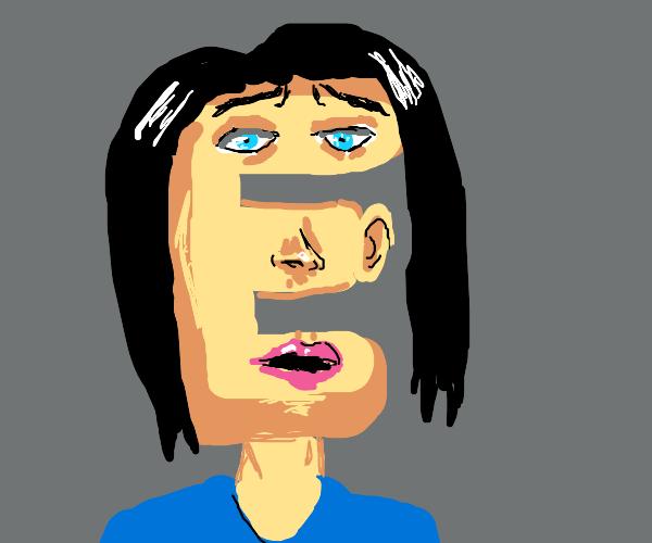 Person's head shaped like letter E