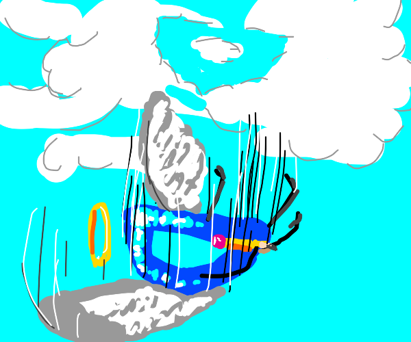 Drawception D falling out of the sky