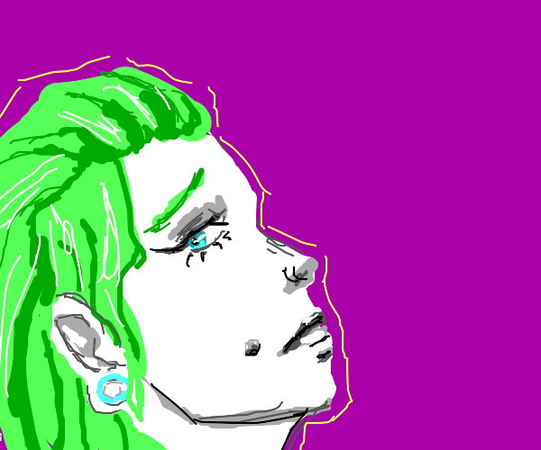 Alt woman with green hair w/ stretched ears