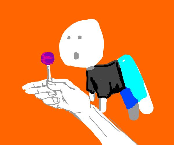 My lollipop makes him levitate