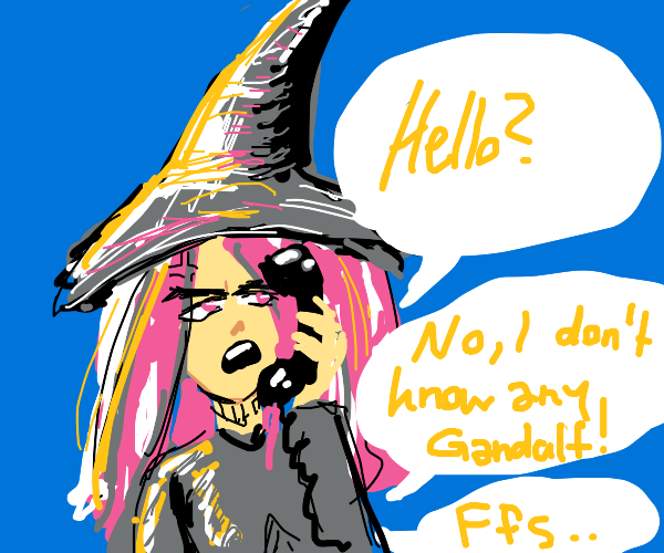 wizard receives phone call
