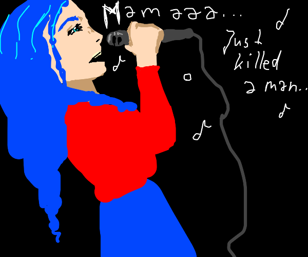 Blue haired girl singing Bohemian Rhapsody