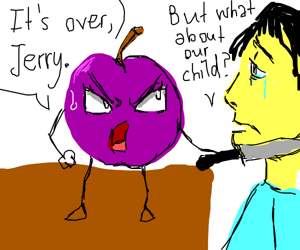purple apple about to murder a man