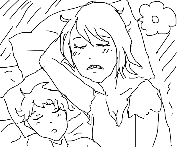 Anime mom sleeping with male child dreaming o