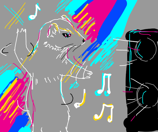 Ermine (animal) dancing to music