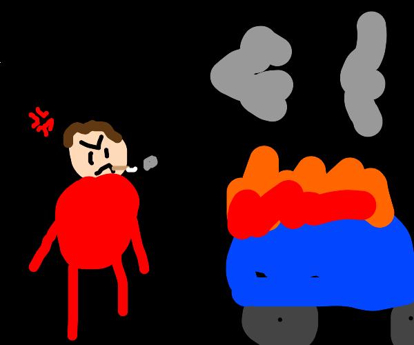 angry fat man smokes cigar, watches car burn