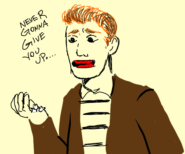 Rick Astley holds teeth but won't give em up