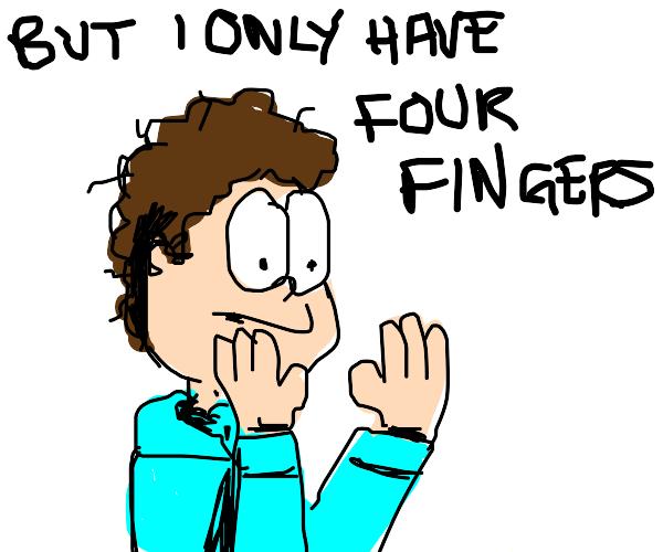 John flipping Garfield off :o
