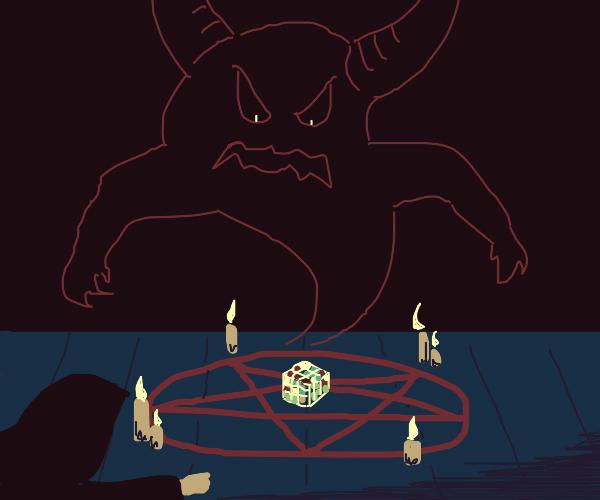 demon summoned using rubiks cube