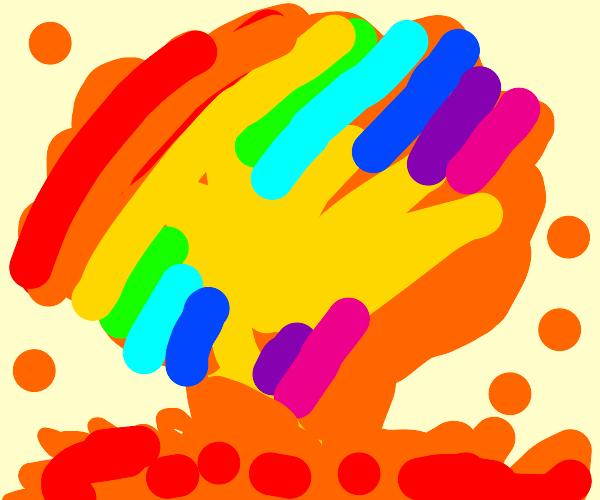 Rainbow mushroom cloud explosion
