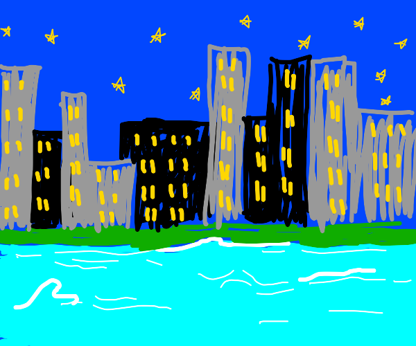 city near sea in night